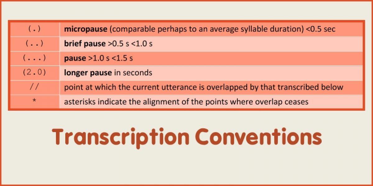 Appendix 1: Transcription Conventions